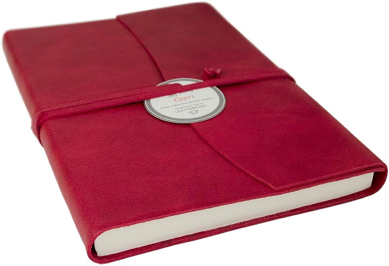 LEATHERKIND Capri Leder Notizbuch Notizbuch Notizbuch Ziegelrot, A5 Blanko Seiten - Handgefertigt in Italien B00F46W8LE | Schön In Der Farbe  a19467