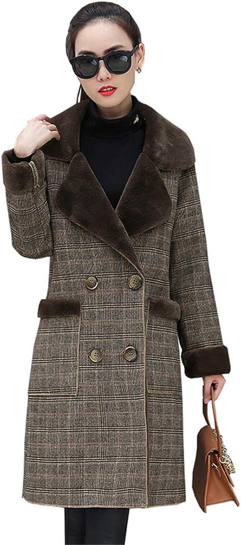 Beltnossnk Women Outerwear Lapel Plaid Warm Wool Coat Slim Large Size Overcoat