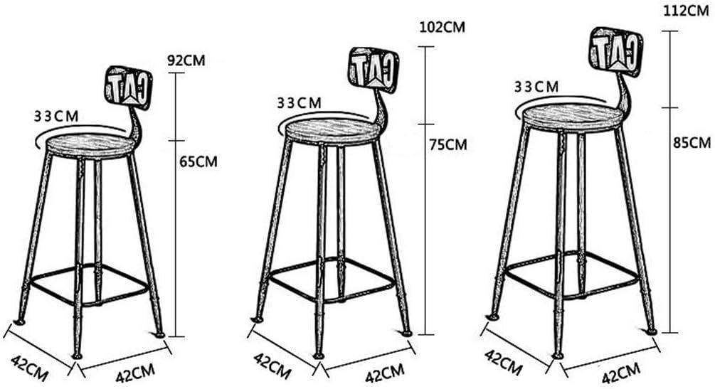 Tabouret de Bar de Style Industriel rétro | Tabourets de Bar à Dossier Haut | Chaise de Salle à Manger de Petit déjeuner de Cuisine | Chaises Hautes de comptoir B