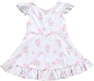 Camidy 1-5T Toddler Girl Lace Ruffled Floral Printed Dress Cotton Short Sleeve Sundress