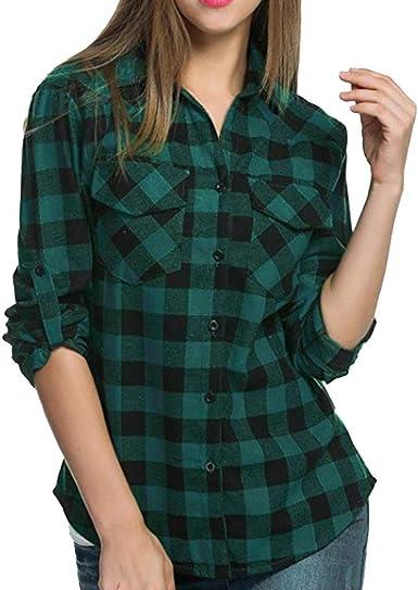 Puizza - Camisa de Cuadros de Manga Larga para Mujer Verde ...