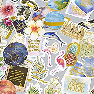 Tropical rain forest Flower Flamingo Cute Stickers, Adhesive Stickers. (24 Pieces/Pack)