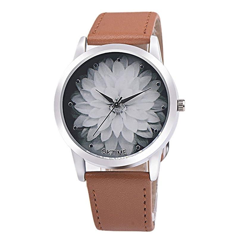 スプレーホイッスルたくさんのレディースクォーツ腕時計、hosamtel花レディース女性用ガールズVogueアナログ腕時計withレザーバンドの女性d77 ブラック LW5673M1