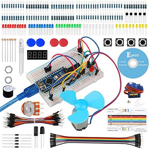 Keywish Kit für Arduino, Nano Projekt Das Vollständige Starter Kit mit Tutorial, Nano Micro Controller Board und viel Zubehör für Arduino Nano V3.0 ATMEGA328P (Kompatibel mit UNO R3)