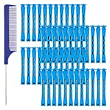 Hippie Soul 48 Pcs Hair Perm Rods Plastic Perming Rods, Blue Cold Wave Rods 0.35 Inch/ 0.9 cm Hair Curling Rollers with Steel Pintail Comb for Salon Home Hairdressing Styling Tools