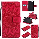 Guran® PU Leder Tasche Etui für Wiko Pulp Fab 4G LTE (5,5 Zoll) Smartphone Flip Cover Stand Hülle & Karte Slot Hülle-rote