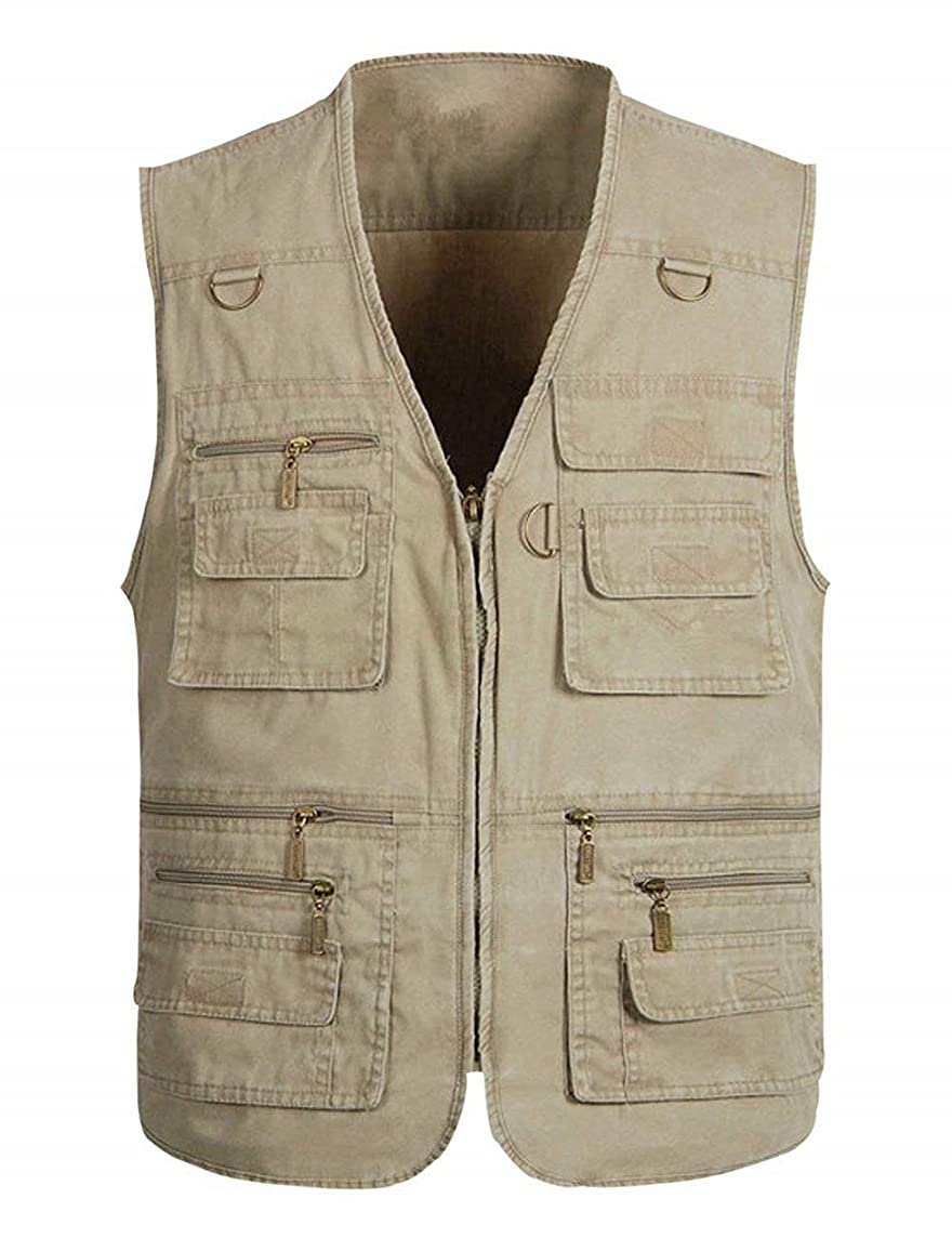 Wildestdream Men's Casual Outdoor Work Photo Journalist Fishing Pockets Vest
