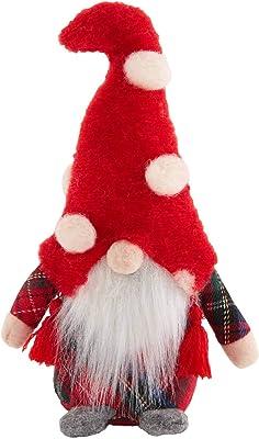 """Mud Pie Tartan Body Small Christmas Gnome, 6"""" x 2 1/2"""", Red"""