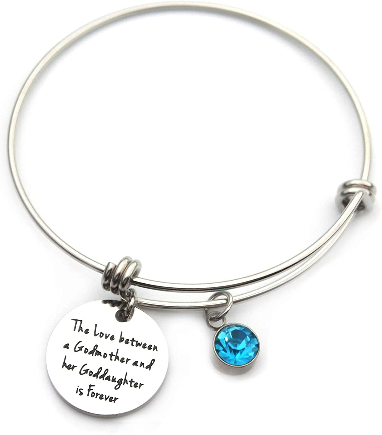 ZUOPIPI Godmother Bracelet Birthday Goddaughter Jewelry Gift With Birthstone The Love Between a Godmother and Her Goddaughter is Forever