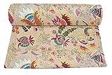 Kiara Indische handgemachte Baumwoll-Steppdecke, wendbar, Kantha-Paisley-Muster, Blumendruck, Tagesdecken und Überzüge, Steppdecke, Überwurf, Doppelgröße/Queen Size (gebrochenes Weiß)