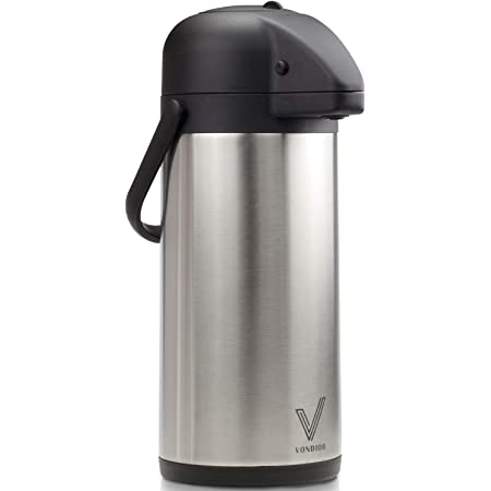 Airpot Coffee Dispenser with Pump - Insulated Stainless Steel Coffee Carafe (85 oz.) - Thermal Beverage Dispenser - Thermos Urn for Hot/Cold Water, Party Chocolate Drinks