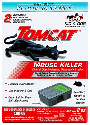 Tomcat Mouse Killer Disposable Station for Indoor/Outdoor Use - Child & Dog Resistant, 2 Stations with 1 Bait Each