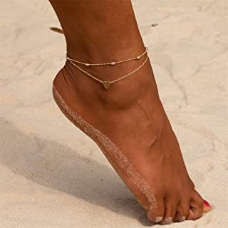 SX Commerce Beads Heart Anklets Women Heart Gold Ankle Bracelet Charm Beaded Dainty Foot Jewelry for Women Gold Silver Ank...