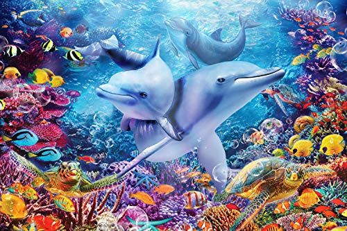 Sopu 100 Pieces Puzzle for Kids Ages 4-8 - Underwater Dolphins Love Design 100 Piece Jigsaw Puzzles Toys for Boys and Girls