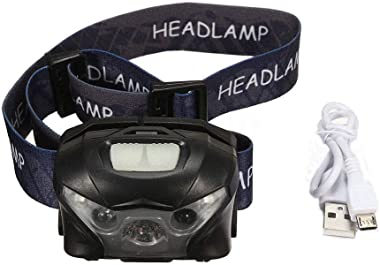 Feccile Outdoor 2PCS LED Headlamp w/5 Operating Modes, USB Rechargeable Waterproof Flashlight, Head Lights for Camping,Hiking