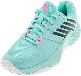 K-Swiss Women's Aero Court Tennis Shoes, Aruba Blue/White/Soft Neon Pink (US Size 8.5)
