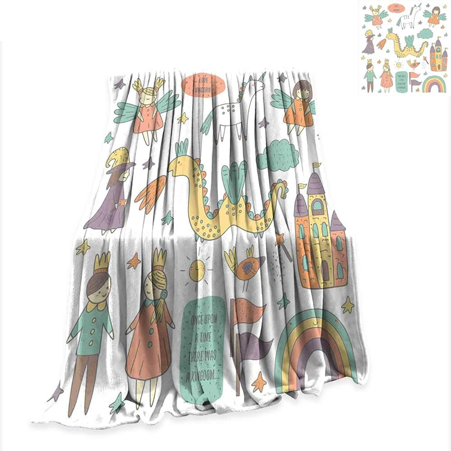 RenteriaDecor Blanket Fantasy,Doodle Style Dragon Fairies Royalty and Wizard Middle Ages Heroic Legend Elements,Multicolor Digital Printing W51 x L60 inch