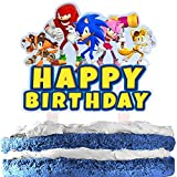 Blue Cartoon Character Cake Topper Happy Birthday Video Game Theme Acrylic Decor Picks for Baby Shower Birthday Party Decorations Supplies