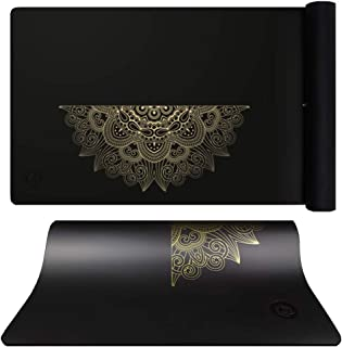 Black Midline Design Yoga Mat with Bag and Strip High Density Thickened Non-Slip Exercise Yoga Mat Rubber Bottom Workout Mat Thick Exercise Mat for Home Gym Fitness Mat for Yoga, Pilates