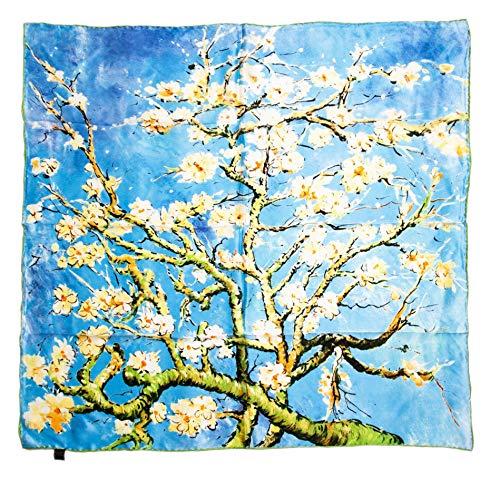prettystern P891 -Foulard en 90 cm carré en pure Soie Crêpe Satin avec und tableau du peintre Vincent van Gogh Amandier en fleurs