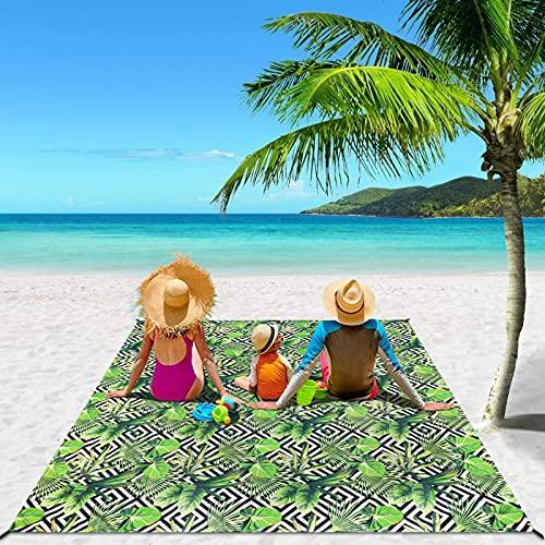 RORASA Picknickdecke 210 x 200 cm, Stranddecke wasserdichte für 4-7 Erwachsene, Sandfreie Camingmatte, Winddicht Strandmatte für Reisen, Camping, Wandern
