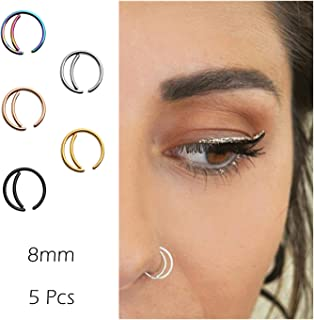 Moon Nose Ring Hoop 20g Surgical Steel Nose Rings Septum Nose Ring Body Piercing Jewelry for Women Girls