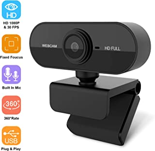 Webcam with Microphone, 1080P Full HD Webcam Laptop or Desktop, USB Computer Camera for Free-Driver Installation