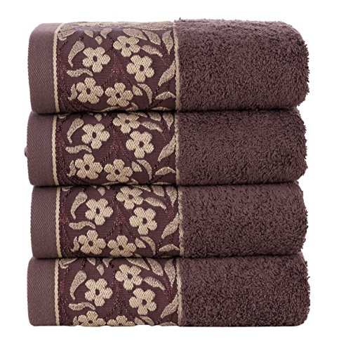 HYGGE [4-Pack] Large Luxury Turkish Cotton Towel Set Soft Plush Kitchen Bathroom Hotel & Spa Decor Hand Towels with Decorative Floral Pattern 19