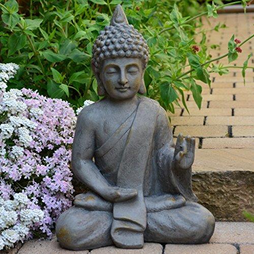 Garten Buddha Antik Steinoptik 54cm Skulptur Feng Shui Deko Statue