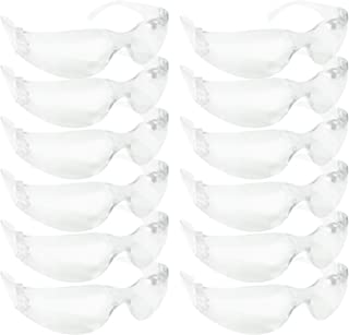 SAFE HANDLER Protective Safety Glasses, Clear Polycarbonate Impact and Ballistic Resistant Lens - White Temple (Box of 12)