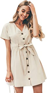Simplee Women's V Neck Short Sleeve Dress Button Down Mini Dress with Tie Belt