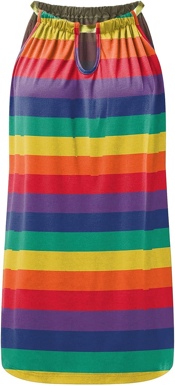 Oiumov Boho Dress for Women Casual Summer Fashion Print Halter Neck Sleeveless Casual Mini Beachwear Dress Sundress