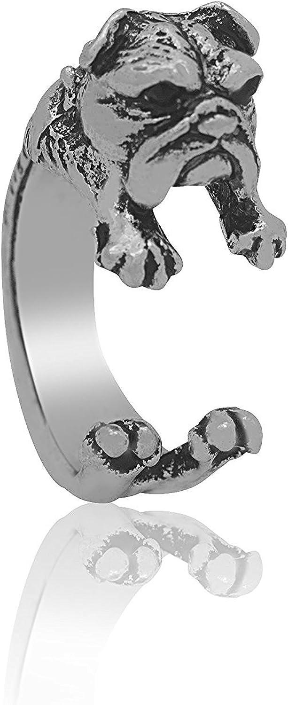 Serebra Jewelry anillo bulldog inglés con tinte plateado ...