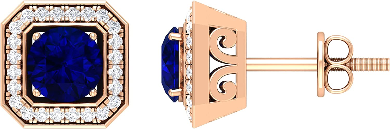 1.25 CT Created Blue Sapphire Vintage Inspired Stud Earrings with Diamond Halo,14K Rose Gold,Lab Created Blue Sapphire