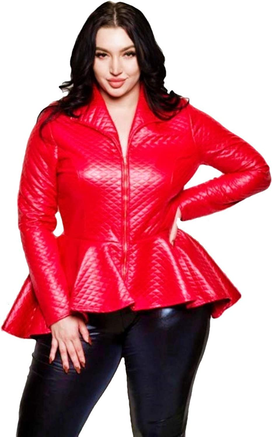 L'Diva Couture Boutique Women's Red Peplum Leather Jacket Plus Size