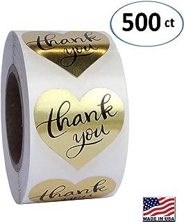 Gold Heart Shape Foil Sticker Labels, 500 Stickers, 1 1/2 inch Diameter, 1.5