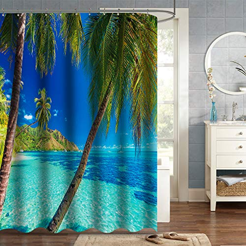 VVA Ocean Shower Curtain, Image of a Tropical Island with The Palm Trees and Clear Sea Beach Theme Print, Fabric Bathroom Decor Set with Hooks, 72 Inches