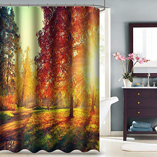 """VVA Fall Sunset Fabric Shower Curtain, Sun Rays and Shadows Through Autumn Trees in Forest Field, Falling Orange Leaves, Thanksgiving Cloth Decor Set with Hooks for Bathroom, 72"""" Long, Red Yellow"""