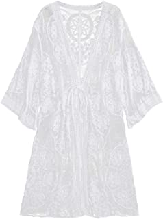 Embroidered Sheer Lace Tie Front Kimono Cover Up