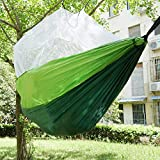 Share Maison Camping Hammock with Mosquito Net Tree Straps Indoor Outdoor Garden Patio Backpacking Survival & Travel, Portable (A)