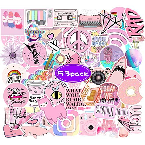 VSCO Girl Stickers, 53 Pack Cute Vinyl Sticker Waterproof Aesthetic Adhesive Decals Trendy Stickers for Laptop Skateboard, Cool Stuff Stickers for Teens Kids Hydro Flask Phone Suitcase Luggage Guitar
