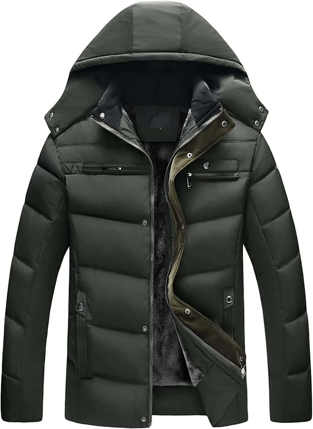 Locachy Men's Winter Thicken Removable Hooded Cotton Parka Jacket Sherpa Lined Windproof Mountain Outwear