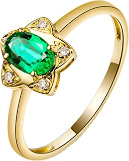 Daesar Anello in Oro Giallo 18K, Anelli Donna Fidanzamento Stella 0.5ct Smeraldo Ovale con Diamante Anelli Nuziali Oro
