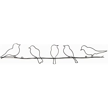 24 Inches Long Elizabeth Keith Designs Metal Five Birds On A Wire Wall Decor Rust Color