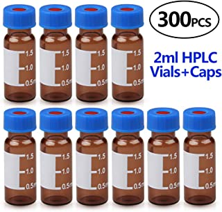 Autosampler Vial, 2ml HPLC Vial,9-425 Amber Vial with Blue Screw Caps,Writing Patch,Graduation,White PTFE & Red Silicone S...