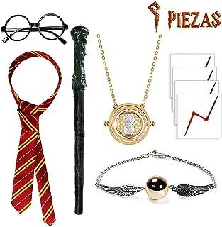 SUPERSUN 9 Stück für Harry Potter Kostüm Kinder, Wizard Zubehör für Kinder, Incluye Zauberstab, Brille, Krawatte, Halskette, Halskette, Armband, für Cosplay, Halloween, Karneval, Party, Geburtstag