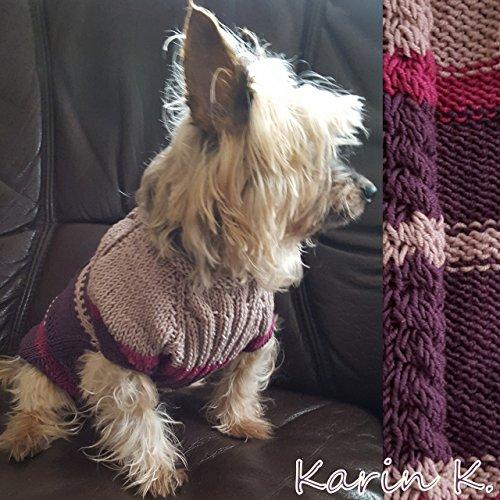 Hunde- Pullover in Purpurviolett, Fuchsia und Taupe, gestrickt für den kleinen Hund aus Kuschelwolle von Lana Grossa