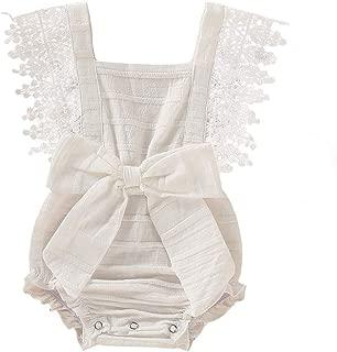 Infant Baby Girls White Hollow Ruffles Sleeve Lace Romper Sunsuit Bodysuit