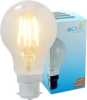 3 x Opus Decorative Vintage LED Filament GLS Light Bulb BC B22 Very Warm White Dimmable Lamp