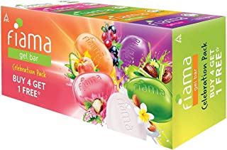 Fiama Gel Bar Celebration Pack with 5 unique Gel Bars, with skin conditioners for moisturized skin, 125g soap (Buy 4 get 1...